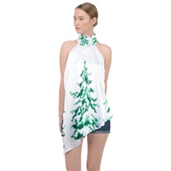 Christmas Pine Trees Snow Xmas Halter Asymmetric Satin Top by AnjaniArt
