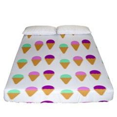 Icecream Background Dessert Summer Fitted Sheet (king Size)