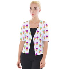 Icecream Background Dessert Summer Cropped Button Cardigan by AnjaniArt