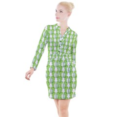 Herb Ongoing Pattern Plant Nature Button Long Sleeve Dress