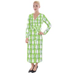 Herb Ongoing Pattern Plant Nature Velvet Maxi Wrap Dress