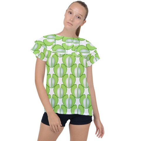 Herb Ongoing Pattern Plant Nature Ruffle Collar Chiffon Blouse by AnjaniArt