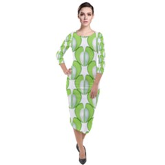 Herb Ongoing Pattern Plant Nature Quarter Sleeve Midi Velour Bodycon Dress by AnjaniArt