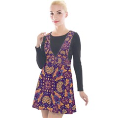 Kaleidoscope Background Design Plunge Pinafore Velour Dress