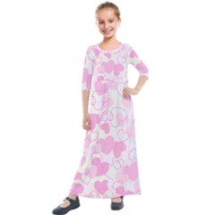 Valentine Background Hearts Bokeh Kids  Quarter Sleeve Maxi Dress by AnjaniArt