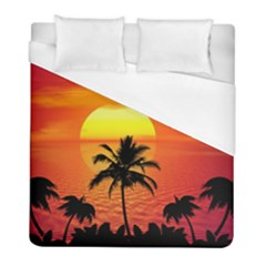 Tropical Summer Sunset Beach Duvet Cover (full/ Double Size) by AnjaniArt