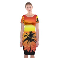 Tropical Summer Sunset Beach Classic Short Sleeve Midi Dress by AnjaniArt