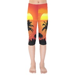 Tropical Summer Sunset Beach Kids  Capri Leggings  by AnjaniArt
