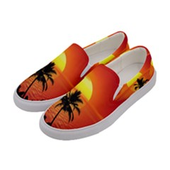 Tropical Summer Sunset Beach Women s Canvas Slip Ons by AnjaniArt