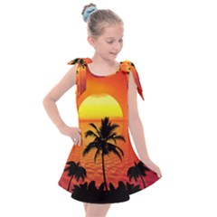 Tropical Summer Sunset Beach Kids  Tie Up Tunic Dress by AnjaniArt