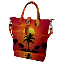 Tropical Summer Sunset Beach Buckle Top Tote Bag by AnjaniArt