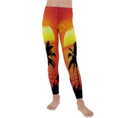 Tropical Summer Sunset Beach Kids  Lightweight Velour Leggings by AnjaniArt