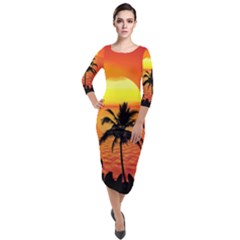Tropical Summer Sunset Beach Quarter Sleeve Midi Velour Bodycon Dress by AnjaniArt