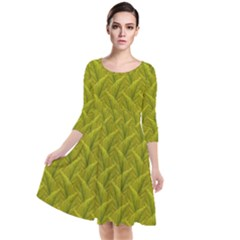 Autumn Leaves Pattern Quarter Sleeve Waist Band Dress by LoolyElzayat