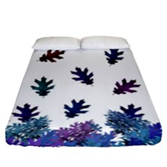 Blue Purple Leaves Fitted Sheet (queen Size) by LoolyElzayat
