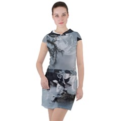 Awesome Black And White Wolf In The Dark Night Drawstring Hooded Dress by FantasyWorld7