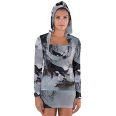 Awesome Black And White Wolf In The Dark Night Long Sleeve Hooded T Shirt by FantasyWorld7
