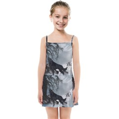 Awesome Black And White Wolf In The Dark Night Kids  Summer Sun Dress by FantasyWorld7