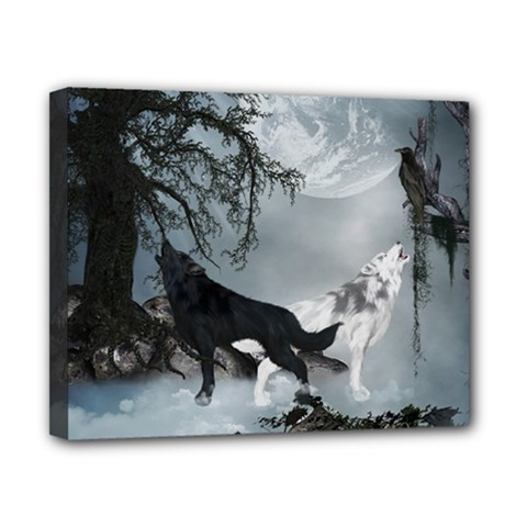 Awesome Black And White Wolf In The Dark Night Canvas 10  X 8  (stretched)