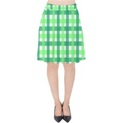 Sweet Pea Green Gingham Velvet High Waist Skirt by WensdaiAddamns