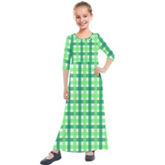 Sweet Pea Green Gingham Kids  Quarter Sleeve Maxi Dress by WensdaiAddamns