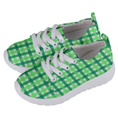 Sweet Pea Green Gingham Kids  Lightweight Sports Shoes by WensdaiAmbrose