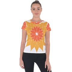 Sunflower Flower Orange Abstract Short Sleeve Sports Top  by AnjaniArt