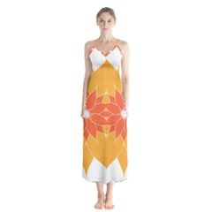 Sunflower Flower Orange Abstract Button Up Chiffon Maxi Dress