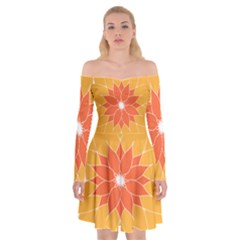 Sunflower Flower Orange Abstract Off Shoulder Skater Dress