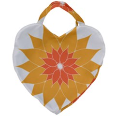 Sunflower Flower Orange Abstract Giant Heart Shaped Tote by AnjaniArt