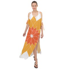 Sunflower Flower Orange Abstract Maxi Chiffon Cover Up Dress