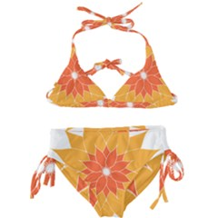 Sunflower Flower Orange Abstract Kids  Classic Bikini Set