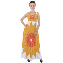 Sunflower Flower Orange Abstract Empire Waist Velour Maxi Dress