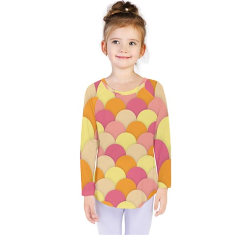 Scallop Fish Scales Scalloped Rainbow Kids  Long Sleeve Tee by AnjaniArt