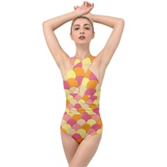 Scallop Fish Scales Scalloped Rainbow Cross Front Low Back Swimsuit by AnjaniArt