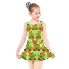 Texture Plant Herbs Herb Green Kids  Skater Dress Swimsuit by AnjaniArt