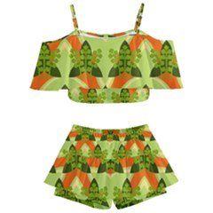 Texture Plant Herbs Herb Green Kids  Off Shoulder Skirt Bikini