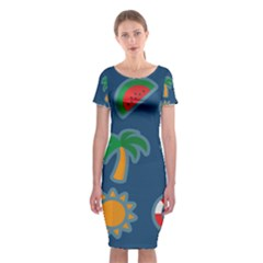 Summer Stickers Motives Cute Classic Short Sleeve Midi Dress by AnjaniArt