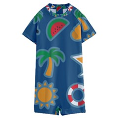 Summer Stickers Motives Cute Kids  Boyleg Half Suit Swimwear