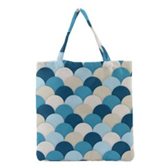 Scallops Background Wallpaper Blue Grocery Tote Bag