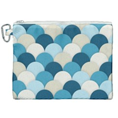 Scallops Background Wallpaper Blue Canvas Cosmetic Bag (xxl)