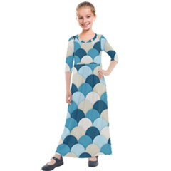 Scallops Background Wallpaper Blue Kids  Quarter Sleeve Maxi Dress