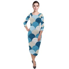 Scallops Background Wallpaper Blue Quarter Sleeve Midi Velour Bodycon Dress by Jojostore