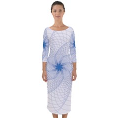 Spirograph Pattern Geometric Quarter Sleeve Midi Bodycon Dress by Mariart