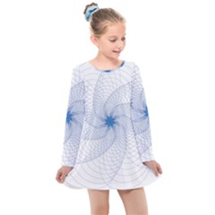 Spirograph Pattern Geometric Kids  Long Sleeve Dress