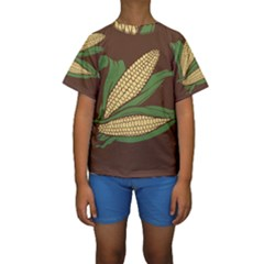 Sweet Corn Maize Vegetable Kids  Short Sleeve Swimwear