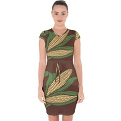 Sweet Corn Maize Vegetable Capsleeve Drawstring Dress