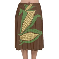 Sweet Corn Maize Vegetable Velvet Flared Midi Skirt by Alisyart