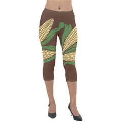 Sweet Corn Maize Vegetable Lightweight Velour Capri Leggings  by Alisyart