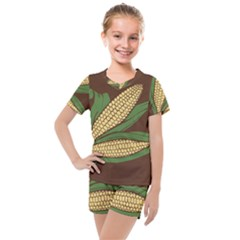 Sweet Corn Maize Vegetable Kids  Mesh Tee And Shorts Set